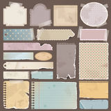 Various old remnant pieces of paper, scrapbook, an Royalty Free Stock Images