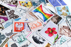 Various old vintage retro Polish European post stamps closeup Royalty Free Stock Photography