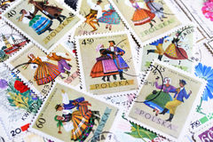 Various old vintage retro Polish post stamps with national clothes Royalty Free Stock Image