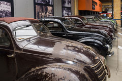 Various Oldtimer standing in a row Stock Photo