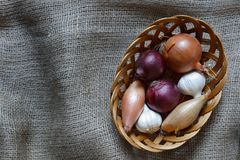 Various onions in a basket. Garlic, French Echalion Shallots and red and brown onions in a wicker basket on a hessian cloth background with copy space left Royalty Free Stock Photos