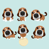 The various operations of cute beagle. The various operations of cute beagle on blue background Royalty Free Stock Image
