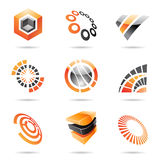 Various orange abstract icons, Set 7. Various orange abstract icons isolated on a white background Royalty Free Stock Image