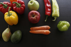 Various organic fruits and vegetables Royalty Free Stock Image