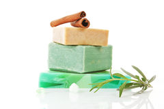 Various organic soaps arranged. Royalty Free Stock Photography