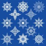 Various Ornate Snowflakes. Thirteen Various Ornate Snow Flakes Stock Image