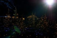 Various outdoor lights at night Royalty Free Stock Photos