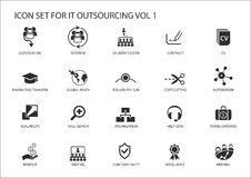 Various IT Outsourcing and offshore model  icons for a global operating model Stock Photography