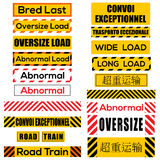 Various oversize load signs and symbols. Various oversize load international signs and symbols (Chinese text: Overweight transport, French text Convoi stock illustration