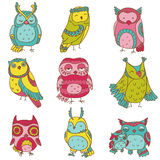 Various Owl Doodle Collection Royalty Free Stock Photos
