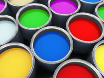 Various paint buckets Royalty Free Stock Photo