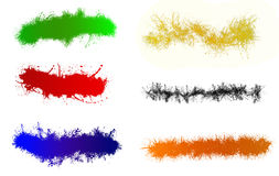 Various paint splats isolated on white Stock Photos