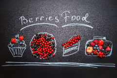 Various Painted berries food with fresh berries and handwritten text lettering Stock Photography