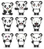 Various panda cartoon character stock illustration