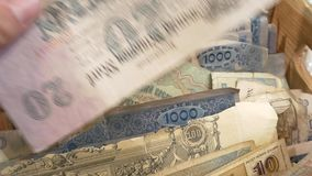 Various paper banknotes from all over the world. Numismatic collector - collecting money stock video