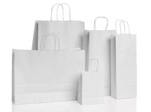 Various paper shopping bags isolated Stock Images