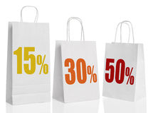 Various paper shopping bags isolated Stock Photos