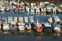 Various parked boats in row Royalty Free Stock Photography