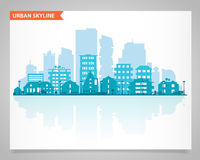 Various part cities skyline set Royalty Free Stock Images
