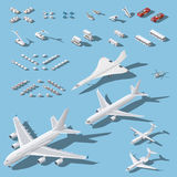 Various passenger airplanes and maintenance equipment for airport isometric icons set Royalty Free Stock Images