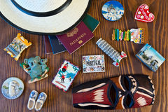 Various passports and souvenir Royalty Free Stock Image