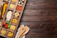 Various pasta in wooden box Stock Image