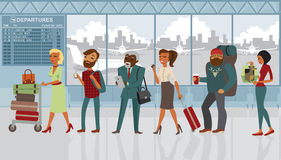 Various people cartoon characters in the airport Stock Images