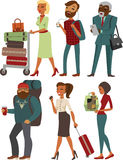 Various people cartoon characters with luggage Royalty Free Stock Images