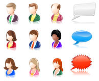Various People Glossy IconSet. People icons and speech bubbles Stock Photography