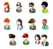 Various People Glossy IconSet. People professions icons with computers Royalty Free Stock Images