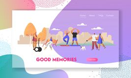 Various People Having Good Day in Public Park Relaxing Openair, Walking with Pet, Sport Exercising, Riding Hoverboard, Relax. Website Landing Page, Web Page stock illustration