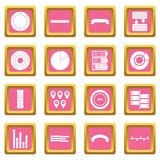 Various people icons pink. Various people icons set in pink color isolated vector illustration for web and any design Stock Illustration