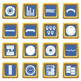 Various people icons set blue. Various people icons set in blue color isolated vector illustration for web and any design Vector Illustration