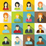 Various people icons set, flat style. Various people icons set. Flat illustration of 16 various people vector icons for web Royalty Free Illustration
