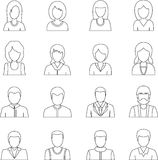 Various people icons set, outline style. Various people icons set. Outline illustration of 16 various people vector icons for web Stock Illustration