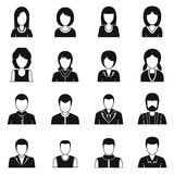 Various people icons set, simple style. Various people icons set. Simple illustration of 16 various people vector icons for web Stock Illustration