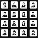 Various people icons set squares vector. Various people icons set in white squares on black background simple style vector illustration Royalty Free Illustration