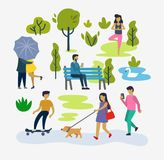 Various people at park outdoor activities. Vector flat Stock Images