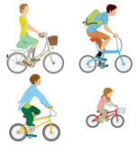 Various people riding Bicycle, Isolated Royalty Free Stock Photography