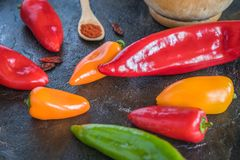 Various peppers stock images