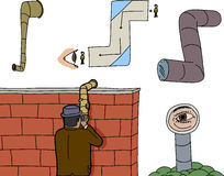 Various Periscope Spying Cartoons Royalty Free Stock Photos