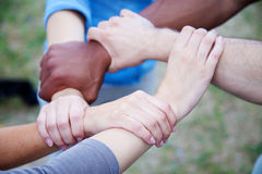 Various persons holding hands. Various young persons holding hands Royalty Free Stock Photography
