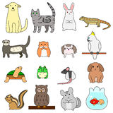 Various pet animals. Various colorful cute pet animals Stock Image