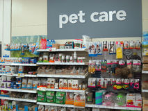 Pet care products. Various pet care products on a display. This display is in the Wilkinson store situated in Bedford, United Kingdom. There approximately three royalty free stock photos