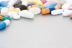 Various pharmaceuticals. All on metal background royalty free stock images