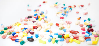 Various pharmaceuticals. Huge pile of various pharmaceuticals stock image