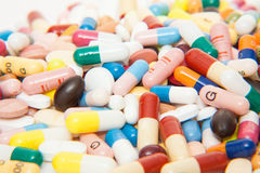 Various pharmaceuticals. Pile of various pharmaceuticals and pills royalty free stock images