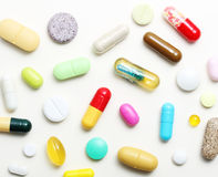 Various pharmaceuticals, pills. On white background royalty free stock images