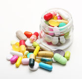 Various pharmaceuticals, pills. On white background stock image