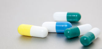 Various pharmaceuticals on stainless steel Royalty Free Stock Photos